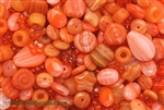 Bead, Czech, Mixed Shape Size And Color, Orange, Glass, 6MM To 18MM