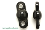 Buckle, Connector, Glass, Vintage, Czech, 44MM, Black