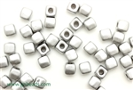 6/0 Cubix 4MM Czech Beads / Silky Silver