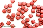 6/0 Cubix 4MM Czech Beads / Lava Red