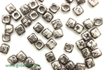 6/0 Cubix 4MM Czech Beads / White Antique Chrome