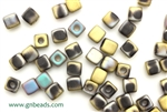 6/0 Cubix 4MM Czech Beads / Matte Black California Green Rush
