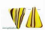 Bead, Czech, Vintage, Trade, Triangle, 35MM, Matte, Yellow