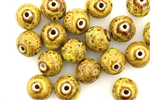 Mustard Yellow Earth Tone Porcelain Beads / 12MM Round
