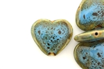 Turquoise Blue Earth Tone Porcelain Beads / Heart