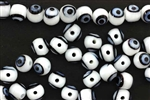 Bead, Evil Eye Bead, Glass, 8MM, Round, White