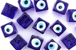Bead, Evil Eye, Lampworked Glass, 12MM, Cube, Cobalt Blue