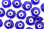 Bead, Evil Eye, Lampworked Glass, 15MM, Lentil, Cobalt Blue