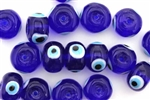 Bead, Evil Eye, Lampworked Glass, 14MM, Rondelle, Cobalt Blue