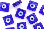 Bead, Evil Eye, Lampworked Glass, 15MM, Flat Square, Cobalt Blue