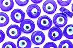 Bead, Evil Eye, Lampwork, Glass, 16MM, Coin, Cobalt Blue