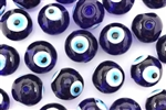 Bead, Glass, Evil Eye Bead, 16MM, Round, Dark Cobalt Blue