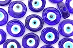 Bead, Evil Eye, Glass, Coin, 20MM, Cobalt Blue
