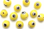Evil Eye Bead / 10MM Round Yellow
