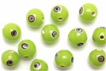 Evil Eye Bead / 10MM Round Light Green