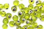 Bead, Evil Eye, Glass, Round, 8MM, Light Green