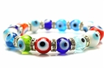 Evil Eye, Bead, Stretch Bracelet, 8 Inch, Round, Rhinestone Rondelle, Multi Colored