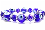 Evil Eye Bead, Stretch Bracelet, 8 Inch, Cobalt Blue