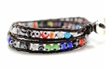 Evil Eye Bead Leather Wrap Bracelet / Double Strand,16In