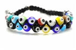 Evil Eye Bead Shambala Bracelet / 8MM Round,Hematite,Multi Colored