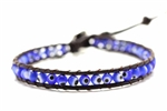 Evil Eye Bead Leather Wrap Bracelet / Blue,10In