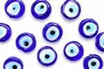 Bead, Evil Eye, Lampwork, Glass, 12MM, Coin, Cobalt Blue
