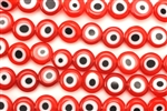 Bead, Evil Eye, Lampworked Glass, 8MM, Coin, Red
