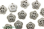 """Pewter"" Charm / 12MM Peace Sign,Antique Silver"