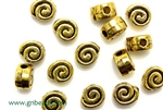 """Pewter"" Beads / 8MM Flat Round,Antique Gold"