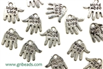 """Pewter"" Charm / 12MM Hand,Antique Silver"