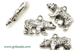 """Pewter"" Charm / 25MM Bear,Antique Silver"