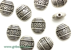 """Pewter"" Beads  / 12MM Flat Oval,Antique Silver"