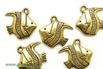 """Pewter"" Charm / 18MM Fish,Antique Gold"