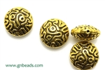 """Pewter"" Beads / 15MM Large Lentil,Antique Gold"