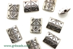 """Pewter"" Beads / 12MM Flat Rectangle,Antique Silver"