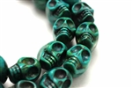 "Gemstone Bead, ""Turquoise"", Magnesite, Skulls, Dark Green, 18MM"