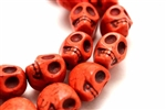 "Gemstone Bead, ""Turquoise"", Magnesite, Skull, Red, 18MM"