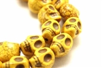 "Bead, Gemstone, ""Turquoise"", Magnesite, Skull, Mustard Yellow, 18MM"
