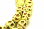 "Gemstone Bead, ""Turquoise"", Magnesite, Skull, Pale Yellow, 18MM"