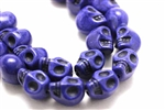 "Bead, Gemstone, ""Turquoise"", Magnesite, Skull, Dark Blue, 13MM"