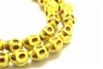 "Bead, Gemstone, ""Turquoise"", Magnesite, Skull, Mustard Yellow, 13MM"