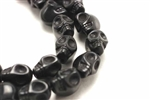 "Gemstone Bead, ""Turquoise"" Magnesite, Skull, Black, 15MM"