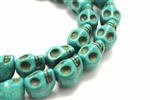 "Gemstone Bead, ""Turquoise"" Magnesite, Skull, Green, 15MM"