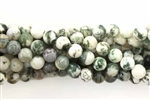 Gemstone Bead, Light Tree Agate, Round, 6MM
