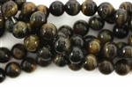 Gemstone Bead, Tiger Eye, Blue, Round, 8MM