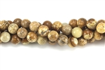Gemstone Bead, Picture Jasper, 8MM, Round