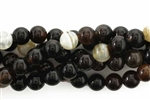 Gemstone Bead, Black Banded Agate, Round, 8MM