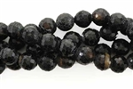 Gemstone Bead, Fire Agate, Black, Faceted, Round, 10MM