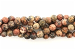 Bead, Gemstone, Jasper, Brown Leopard Skin, Faceted, Round, 6MM