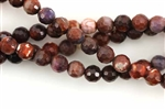 Gemstone Bead, Fire Agate, Dark Red, Faceted, Round, 6MM